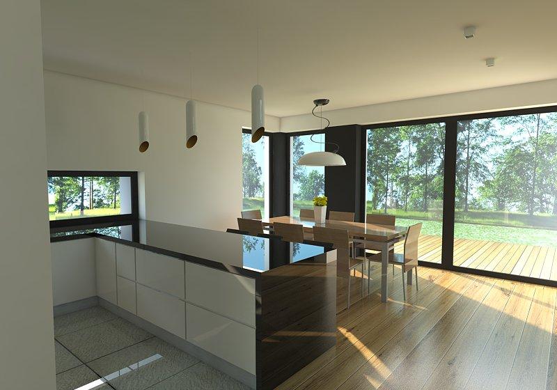 widok na kuchnie od sypialni