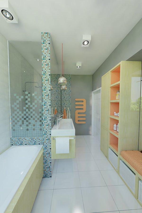 łazienka Turkusowa Mozaika 1002 Awx2 Architekci